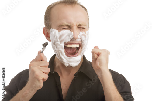 exclaming while shaving