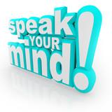 Speak Your Mind 3D Words Encourage Feedback poster