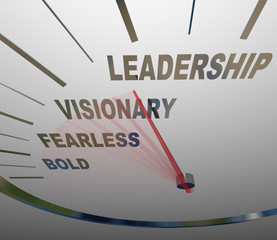 Leadership Speedometer Vision Fearless Bold Direction