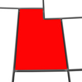 Utah Red Abstract 3D State Map United States America
