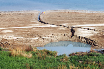 Sinkhole in the Dead Sea valley Israel