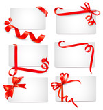 Fototapety Set of beautiful cards with red gift bows with ribbons Vector