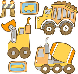 Cute Construction Vehicle Vector Set