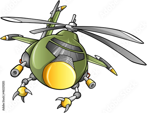 Staande foto Militair Robot Army Helicopter Vector