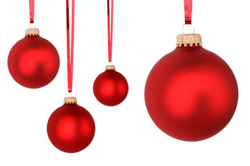 red Christmas balls isolated on white