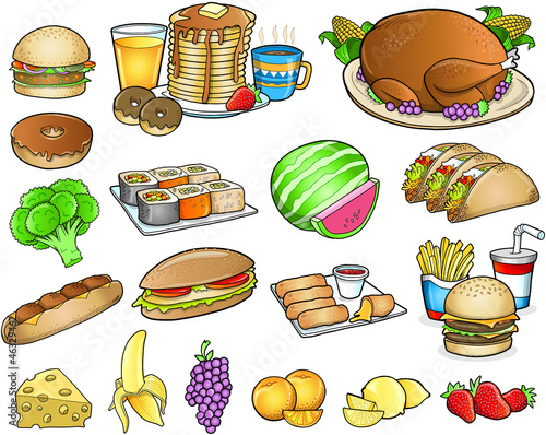 Food Meal Drink Vector Elements Set