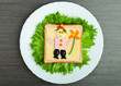 design food. Creative sandwich for child with  picture little ma