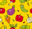 Seamless background of happy eco vegetables