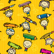 Seamless background of happy drawing kids with pens