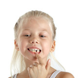 Little girl with missing front teeth