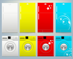 Refrigerator and Washing Machine Vector Illustartion