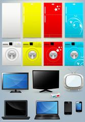 Fridge Washing Machine TV Mobile Laptop Vectors