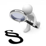 3d man with a magnifying glass and a paragraph icon