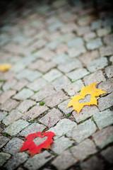 Autumn leaf hearts