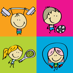 Doodle happy sport kids