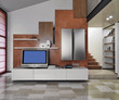 moderno soggiorno con televisore sul mobile