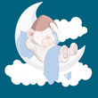 Teddy Bear Sleeping on Moon Cartoon Vector