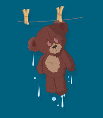 Wet Cute Teddy Bear Vector