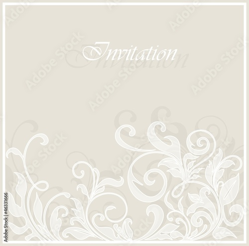 Beautiful invitation vintage card with floral elements.