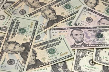 Background of twenty and five U.S. dollar