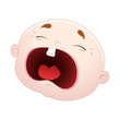 Crying Baby Face Vector