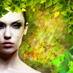 Lady Nature. Abstact natural backgrounds with beauty female port