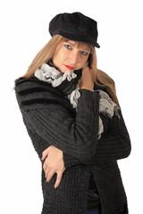 Mujer rubia, invierno, lana virgen, adulto joven