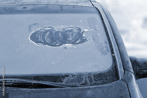 canvas print picture Icy windshield