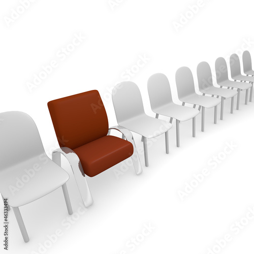 Different chairs, 3d concept