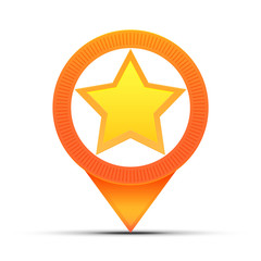 Map pin icon with star symbol