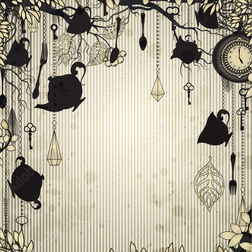 Abstract vintage background with tea party theme