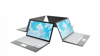 Four laptops with clouds on screen