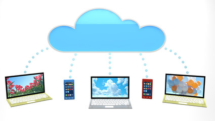 Cloud concept with phones and laptops