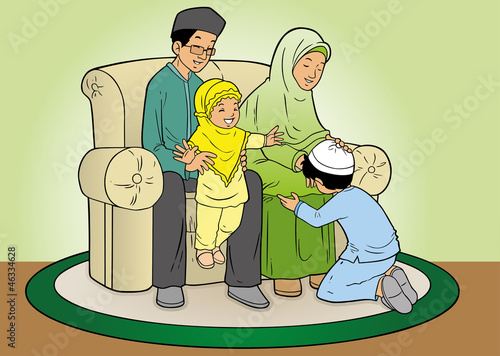 Indonesian family muslim eid mubarak celebration day