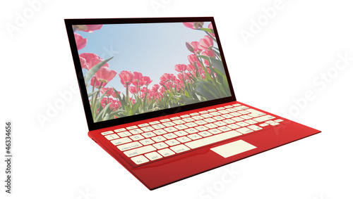 Red laptop isolated on white