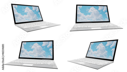 Modern laptop in four different angles