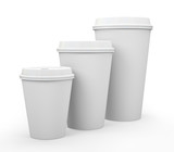 White paper cups of coffee isolated on background illustration