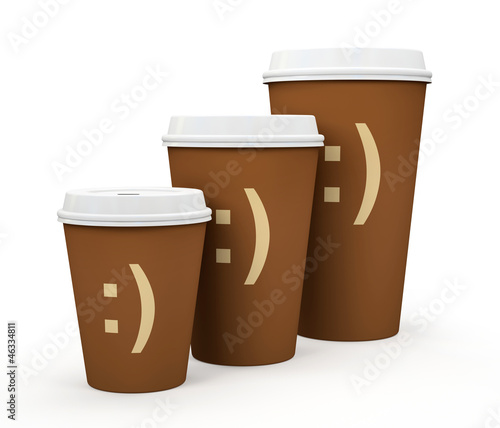 Paper cups of coffee isolated on white background illustration