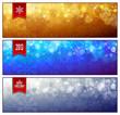Set of horizontal luminous Christmas banners