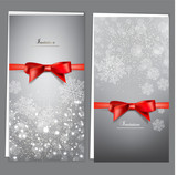 Fototapety Greeting cards with red bows and copy space. Vector illustration