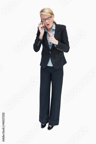 Businesswoman arguing on the phone