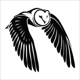 Isolated owl in flight - vector illustration
