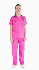 Nurse wearing pink scrubs