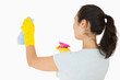 Woman cleaning white walls