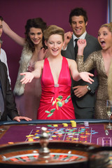 Woman winning at roulette