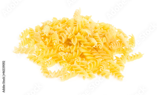 A portion of Rotini corkscrew pasta isolated on white.