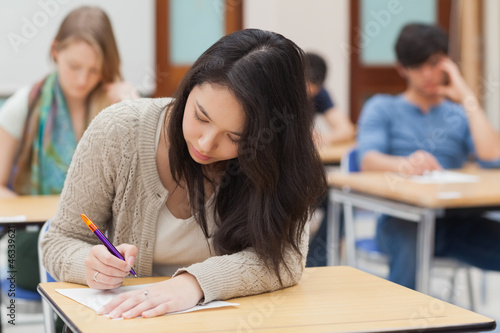 Woman doing an exam