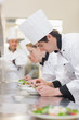 Culinary class preparing salads