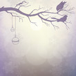 Light winter background with silhouette of branch with birds