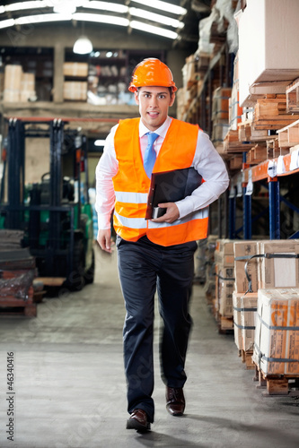 Supervisor In A Hurry At Warehouse